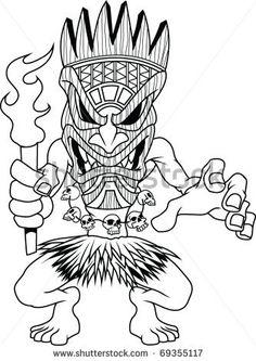 Tiki Warrior Free Vector / 4Vector
