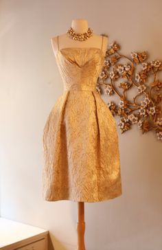 126f7daff2c2 Vintage 1960s Will Steinman Gold Party Dress ~ Vintage 60s Gold Brocade  Cocktail Dress