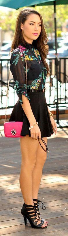 Black Multi Floral Semi-sheer Button Down