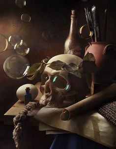 taking the typically fearsome and dark motif of the skull, and putting it… Memento Mori Art, Vanitas Paintings, Vanitas Vanitatum, Skull Painting, Danse Macabre, Still Life Photography, Skull Art, Dark Art, Les Oeuvres