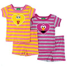 Sesame Street Baby Big Bird Elmo 4pc Pajama Short Set #YankeeToyBox #FunStartsHere #Elmo #BigBird #PrimeShipping #AmazonPrime