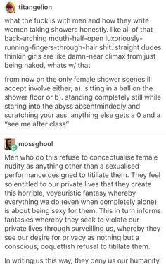 "The shower scene in James Bond Skyfall is awful. The girl had told him about an hour earlier that she had been sold into sex slavery whwn she was a toung chuld and he immediately goes into her shower butt naked and decides ""We're going to have sex now even though it probably traumatises you"""