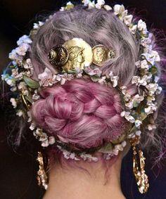 Medieval Hairstyles, Diy Hairstyles, Wedding Hairstyles, Scene Hairstyles, Green Hair, Blue Hair, Lilac Hair, Prom Hair Accessories, Long Gray Hair