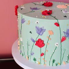 Pretty Birthday Cakes, My Birthday Cake, Birthday Cake Decorating, Pretty Cakes, Cute Cakes, Beautiful Cakes, Amazing Cakes, Birthday Cake With Flowers, Buttercream Birthday Cake