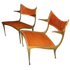 "Exquisite Pair of Bronze Dan Johnson ""Gazelle"" Lounge Chairs"