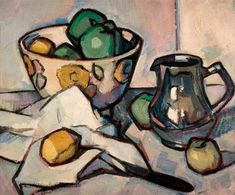 Samuel John Peploe – still life – oil on canvas. – Samuel John Peploe (1871-1935) was a Scottish Post-Impressionist painter, noted for his still life works and for being one of the group of four painters that became known as the Scottish Colourists. The other colourists were John Duncan Fergusson, Francis Cadell and Leslie Hunter.