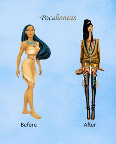 Pocahontas' fashion makeover before and after #DisneyPrincesses #Pocahontas