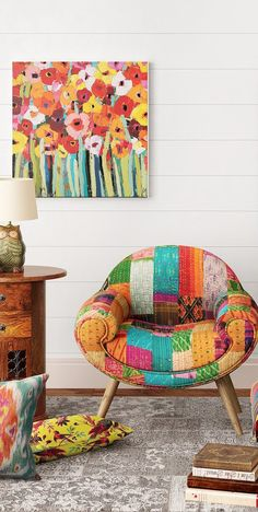 Armchair upholstered in kantha fabric Patchwork Sofa, Blue Dining Room Chairs, Accent Chairs For Living Room, Lounge Chairs, Arm Chairs, Kitchen Chairs, Small House Diy, Comfortable Living Room Chairs, Adirondack Chairs For Sale