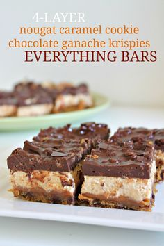 4-Layer Nougat Caramel Cookie Ganache Krispies Bars 4--100115 Caramel Cookies, Chewy Chocolate Chip Cookies, Chocolate Desserts, Cookie Desserts, Brownie Cookies, Easy Desserts, Bar Cookies, Chocolate Ganache, Summer Desserts