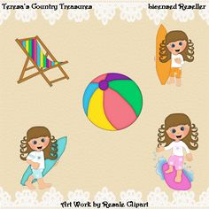 #Surfing #Girls with Curly Brown Hair #Clipart