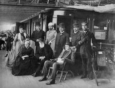Dom Pedro II em viagem à Europa  ao lado da esposa e de amigos