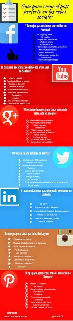 #Infografía - Guía para crear el post perfecto en las redes sociales