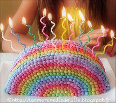 Les Mercredis de Julie : Gâteau arc en ciel avec smarties