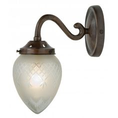 Belvedere Collection PINESTAR antique finish single wall light with cut glass shade
