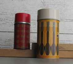 home decor 2 thermos bottles red-orange mid by TheWillies Retro Campers, Bottles, Conditioner, Mid Century, Beige, Orange, Metal, Red, Retro