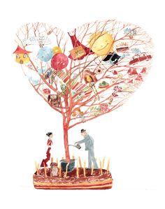 A fine art print entitled Love Tree by Cristiana Radu! Love Illustration, Illuminated Manuscript, Tree Of Life, Getting Married, Art Nouveau, Fine Art Prints, Romantic, Japanese, My Love