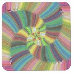 Colorful spiral square paper coaster $1.45 *** Shiny colorful spiral fractal design - coaster