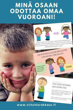 Oman vuoron odottamisen taitoja etenkin päiväkoti/eskari ikäisille lapsille. Värikäs kuvatarina, jossa käydään läpi tuttuja tilanteita, joissa omaa vuoroa voi joutua odottamaan.  Lisää oppimisen ja ohjauksen materiaaleja osoitteessa: viitotturakkaus.fi Learning Environments, Map, Kids, Adhd, Aurora, Abstract, Young Children, Summary, Boys