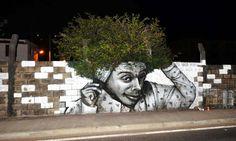 """Painted in Fort De France, Martinique by street artist Nuxuno Xän.  """"you need to pick your afro daddy..."""""""