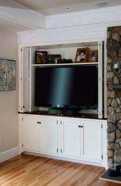 50 trendy bedroom closet with tv hidden tv Large Tv Cabinet, Built In Tv Cabinet, Tv Cupboard, Tv Built In, Built In Shelves, Living Room Built Ins, Narrow Living Room, New Living Room, Tv Cabinets With Doors