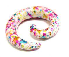 00g Rainbow Splash Spiral Ear Plugs Paint Splatter Taper Gauge Earrings