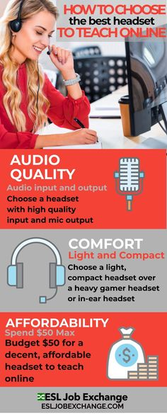 Check out the best way to find a headset that works best for teaching English online. Think comfortable, affordable and quality! Computer Headphones, Teacher Wear, Teacher Photo, Teaching English Online, Esl Lessons, Headset, Student, Check, Headphones