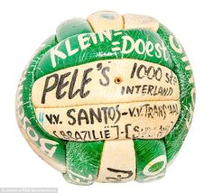 The ball used in Pele's 1000th game, a friendly between Santos and Interland in…
