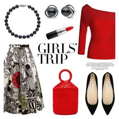 """""""Girls' Trip: Wine Tasting"""" by pearlparadise ❤ liked on Polyvore featuring Junya Watanabe, LE3NO, Jimmy Choo, Trilogy, MAC Cosmetics, contestentry, girlstrip, pearljewelry, pearlparadise and WineTastingOutfit"""