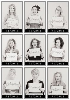 Morning after mugshots for the bridal shower/bachelor party - too funny!