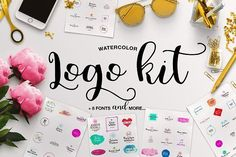 Watercolor Logo Kit + 8 Fonts! by Daria Bilberry on @creativemarket