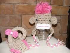 Newborn or 0-3 months  baby GIRL  monkey  diaper   cover hat set crochet Newborn photo props photography boy girl. $32.00, via Etsy.