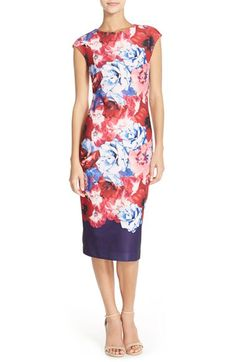 Vince Camuto Vince Camuto Floral Midi Sheath Dress (Regular & Petite) available at #Nordstrom