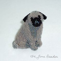 Gray PUG w/ Tail  beaded keepsake dog pin/ by thelonebeader, $95.00