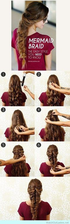 Best Hair Braiding Tutorials - Mermaid Braid - Easy Step by Step Tutorials for B. Hairstyles, Best Hair Braiding Tutorials - Mermaid Braid - Easy Step by Step Tutorials for Braids - How To Braid Fishtail, French Braids, Flower Crown, Side Braid. Pretty Braided Hairstyles, Fast Hairstyles, Braided Hairstyles Tutorials, Unique Hairstyles, Girl Hairstyles, Wedding Hairstyles, Hairstyle Ideas, Model Hairstyles, Fishtail Hairstyles