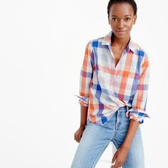 Popover shirt in oversized plaid : button-ups | J.Crew