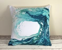 Throw Cushions, Wave Cushion Cover, Scatter Cushions, Beach theme decor, Decorative Pillows, Blue cushions, Surf Decor, Gift for Women Wife by CraftyCowDesign on Etsy https://www.etsy.com/uk/listing/489461739/throw-cushions-wave-cushion-cover