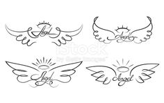 Winged angelic tattoo icons - Buy this stock vector and explore similar vectors at Adobe Stock Engel Tattoos, Bild Tattoos, Body Art Tattoos, Small Tattoos, Tattoo Oma, Alas Tattoo, Tattoo Wings, Baby Angel Tattoo, Baby Angel Wings
