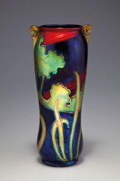 Zsolnay, Pécs, Eosin-Glaze Decorated Earthenware Vase.