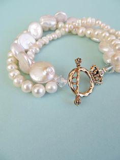 Freshwater Pearl Bracelet by MimiLouJewelry on Etsy