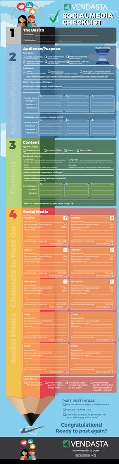 [Printable Infographic] The Ultimate Social Media Checklist. The gift that keeps on giving! Use each time or laminate and re-use. What a great idea! Social Media Marketing, Digital Marketing, Social Channel, Infographics, Printable, How To Plan, Business, Gift, Infographic