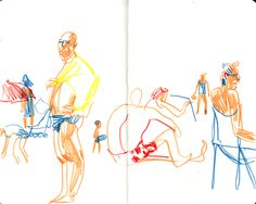 On the beach, sketchbook