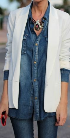 White blazer layered over chambray button down. Eagle jewel statement necklace. Get the look @Maude Vegas @Maude {Apparel, Home + Gift} #maudeboutique #shopmaude #chbray