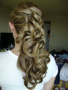 Wedding, Hair, Curly, Blonde, Side, Ponytail, Half-up-do, Swept