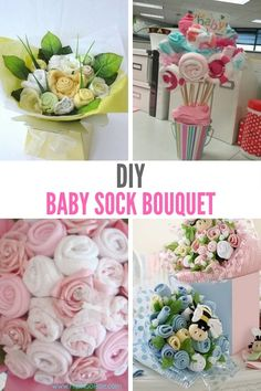 DIY Baby Sock Bouquets - They Are Really Easy So Have a Go! We love Baby things and making our own Baby shower gift and presents for friends who are having bab Baby Shower Bouquet, Baby Sock Bouquet, Gift Bouquet, Diaper Bouquet, Baby Sock Corsage, Diy Baby Gifts, Baby Girl Gifts, Baby Shower Parties, Baby Shower Gifts
