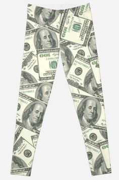 'Dollar Print Funny Design' Leggings by Bithys Online Awesome Leggings, Best Leggings, Framed Prints, Canvas Prints, Funny Design, Chiffon Tops, Money, Clothes, Outfits