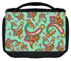 Paisley on Mint Green Design TM Small Travel Sized Hanging Cosmetic/Toiletry Case with 3 Compartments and Detachable Hanger-Made in the U.S.A. -- Check this awesome product by going to the link at the image. (Note:Amazon affiliate link) #Makeuporganization
