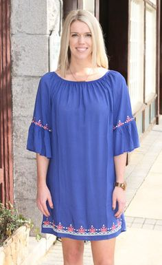 Bella Dress $32.00 FREE SHIPPING! This is a vibrant cobalt blue dress that comes with embroidery detail and bell sleeves.  New Arrivals, Spring 2015, Women's Fashion, Emboridery, Dress, Women's Style