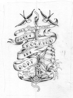 Unused book cover test for Boden clothing (little sailor jerry tattoostyle drawing) by Joe Wilson