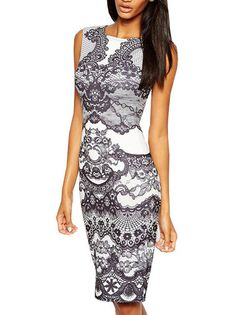 Round Neck Embroidery Sleeveless Bodycon Dress Knee Length Dresses on buytrends.com