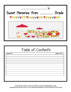 SWEET MEMORIES.....Memory Books are fun for the end of school!Your kids will love to make this 'sweet memories' mini book.  It has 12 mini page...